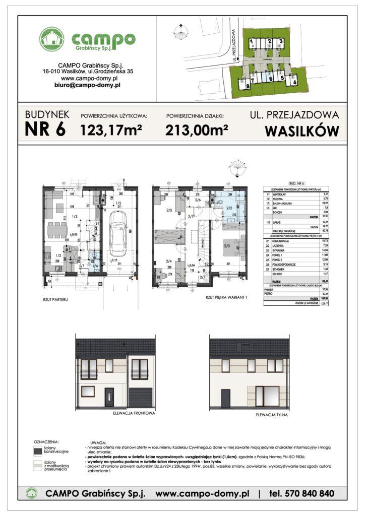 Szeregówki Wasilków ulica Przejazdowa 6 Campo Domy plan 1