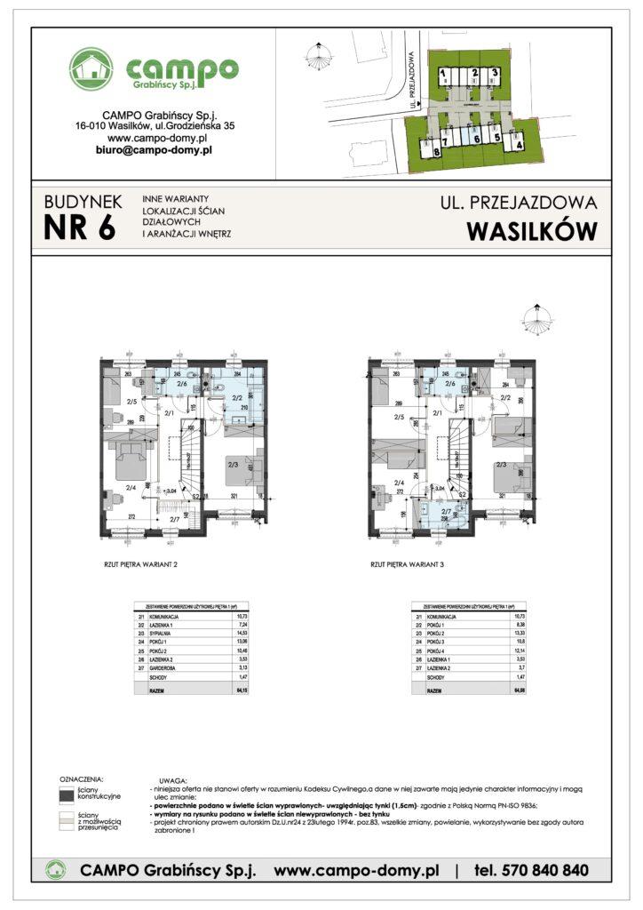 Szeregówki Wasilków ulica Przejazdowa 6 Campo Domy plan 2