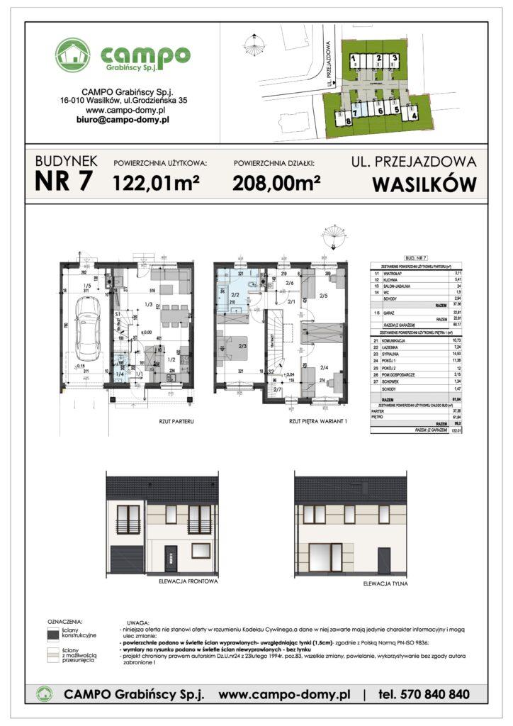 Szeregówki Wasilków ulica Przejazdowa 7 Campo Domy plan 1