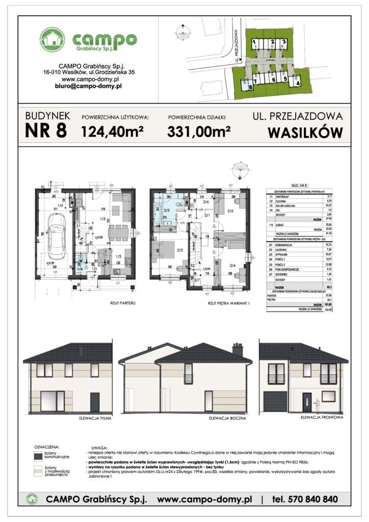 Szeregówki Wasilków ulica Przejazdowa 8 Campo Domy plan 1