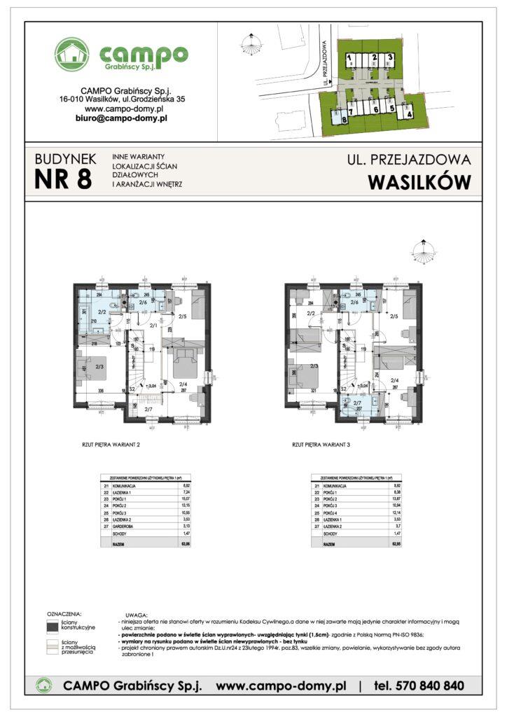 Szeregówki Wasilków ulica Przejazdowa 8 Campo Domy plan 2